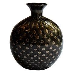 Archimede Seguso Murano Sombre, Coloured Gold Italian Artglass Vase