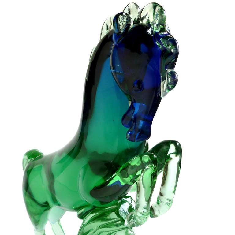 Hand-Crafted Archimede Seguso Murano Sommerso Blue Green Italian Art Glass Horse Sculpture For Sale