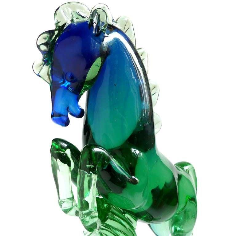 Mid-20th Century Archimede Seguso Murano Sommerso Blue Green Italian Art Glass Horse Sculpture For Sale