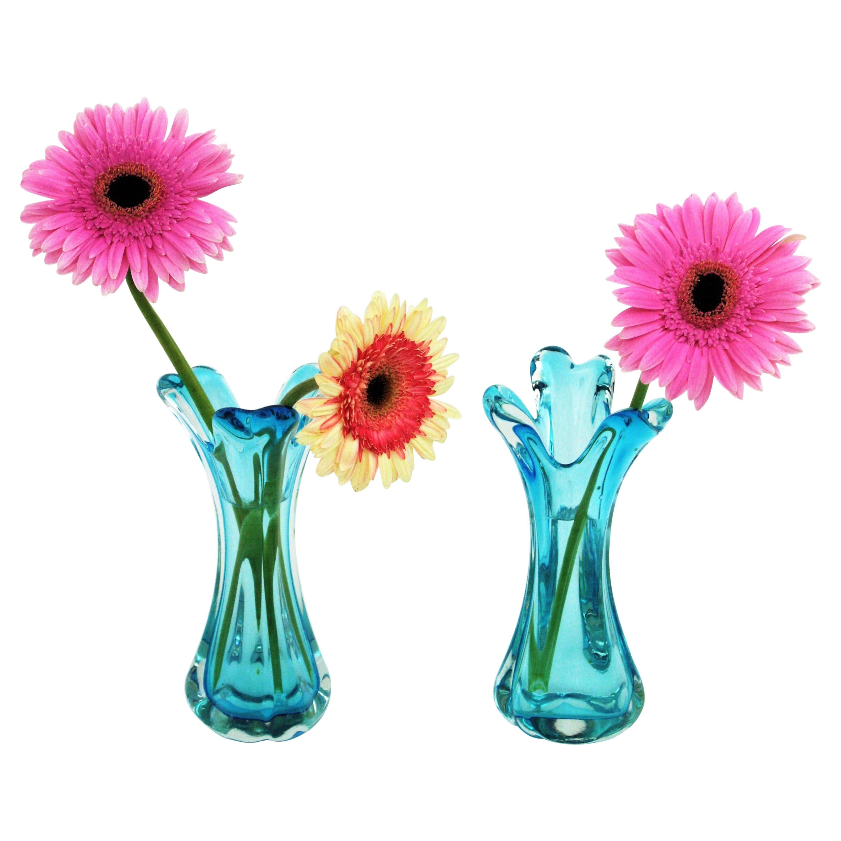 Archimede Seguso Pair of Blue Murano Glass Flower Vases