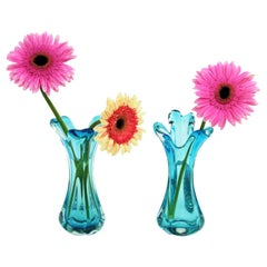 Archimede Seguso Pair of Blue Murano Glass Flower Vases