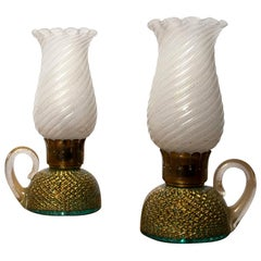 Archimede Seguso Pair of Murano Glass Table Lamps