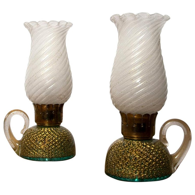 Archimede Seguso Pair of Murano Glass Table Lamps For Sale