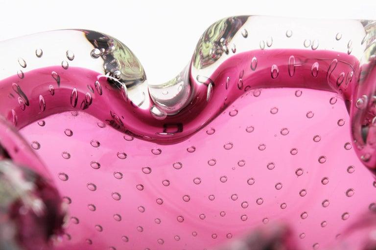 Italian Archimede Seguso Pink Murano Sommerso Bullicante Glass Bowl / Ashtray, 1960s For Sale