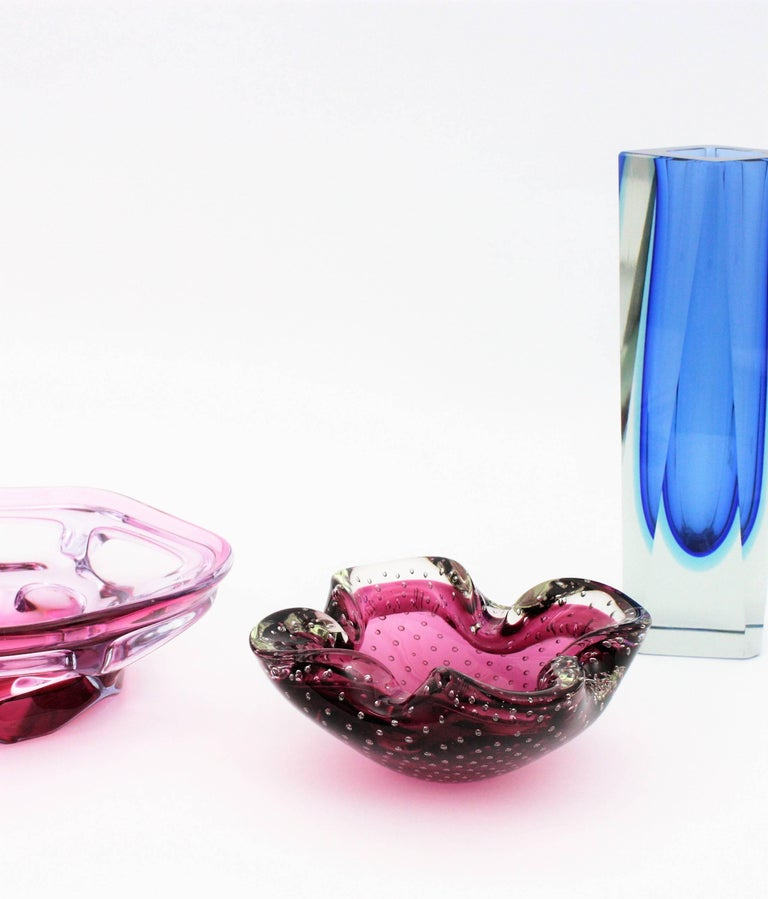 Archimede Seguso Pink Murano Sommerso Bullicante Glass Bowl / Ashtray, 1960s In Excellent Condition For Sale In Barcelona, ES