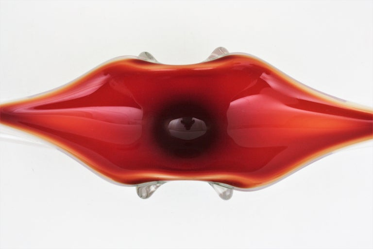 Archimede Seguso Red Lips Design Murano Glass Centerpiece Bowl For Sale 5