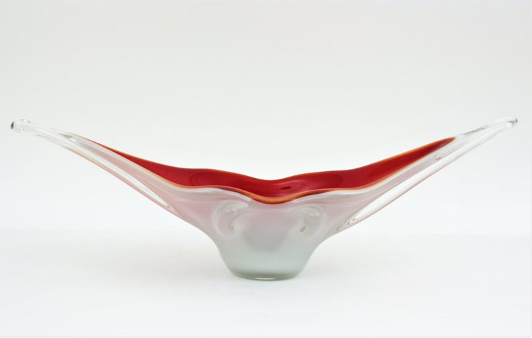 Archimede Seguso Red Lips Design Murano Glass Centerpiece Bowl For Sale 9