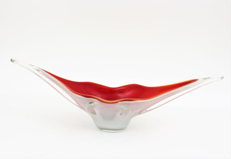 Archimede Seguso Red Lips Design Murano Glass Centerpiece Bowl For Sale 1
