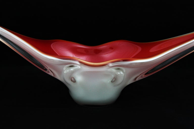 Archimede Seguso Red Lips Design Murano Glass Centerpiece Bowl For Sale 3