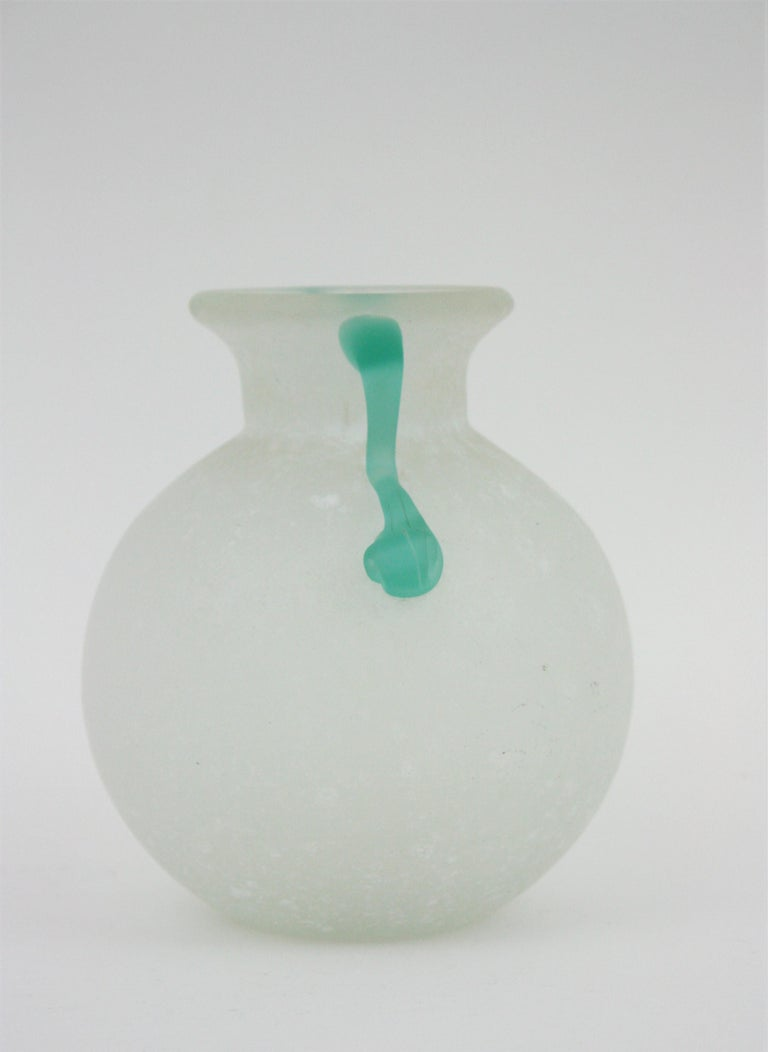 Archimede Seguso Scavo Corroso Art Glass Vase with Handles, Italy, 1960s For Sale 5