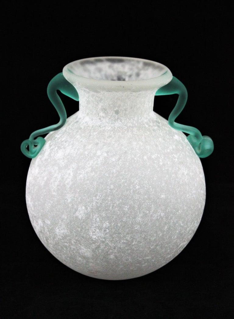 Italian Archimede Seguso Scavo Corroso Art Glass Vase with Handles, Italy, 1960s For Sale