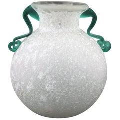 Archimede Seguso Scavo Corroso Art Glass Vase with Handles, Italy, 1960s