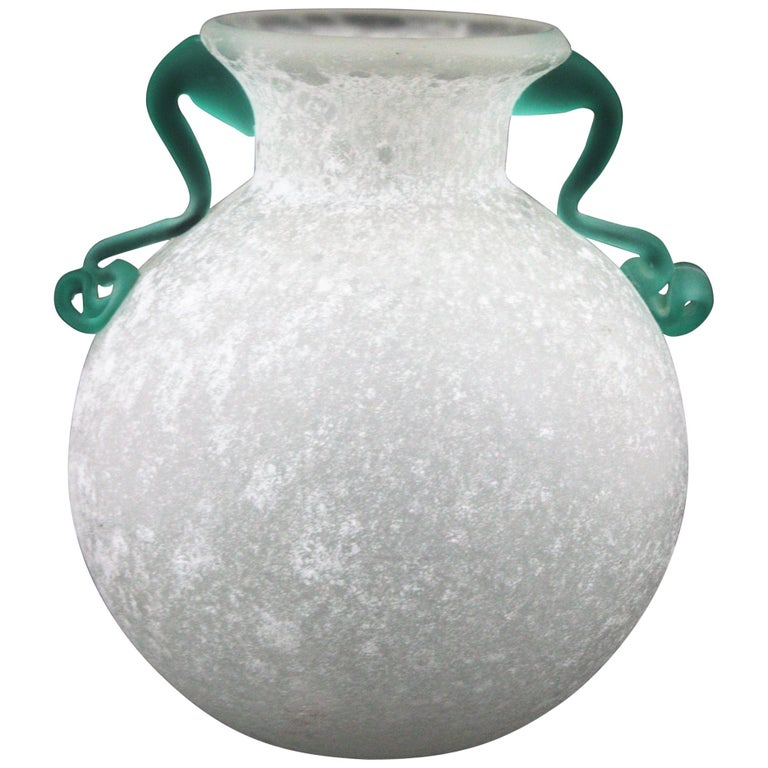 Archimede Seguso Scavo Corroso Art Glass Vase with Handles, Italy, 1960s For Sale