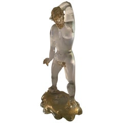 Archimede Seguso Sculpture Iridescent Murano Glass Gold, 1940, Italy