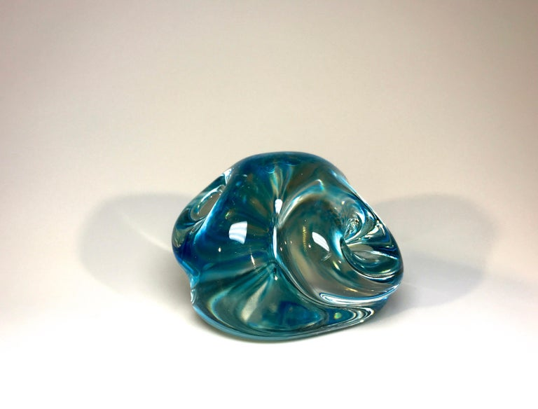 Archimede Seguso signed, Murano Italian crystal and aquamarine organically shaped paperweight