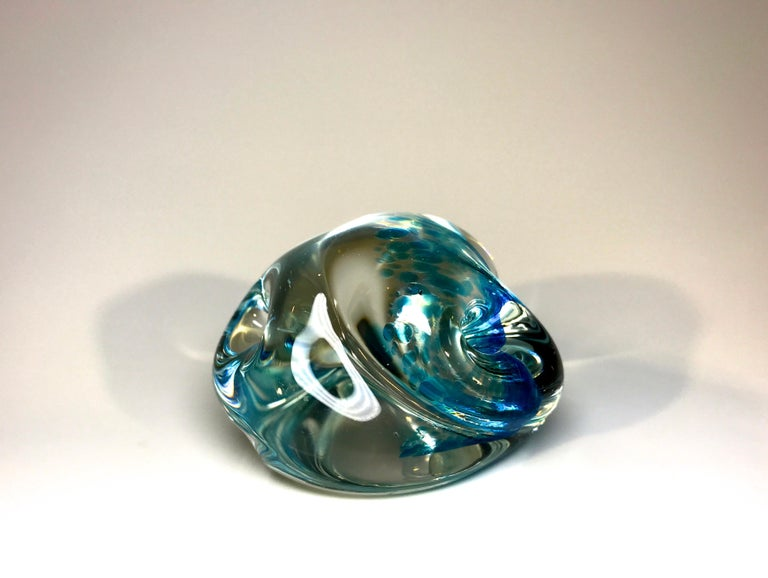 Archimede Seguso Signed, Murano Italian Crystal Aquamarine Organic Paperweight In Good Condition For Sale In Rothley, Leicestershire
