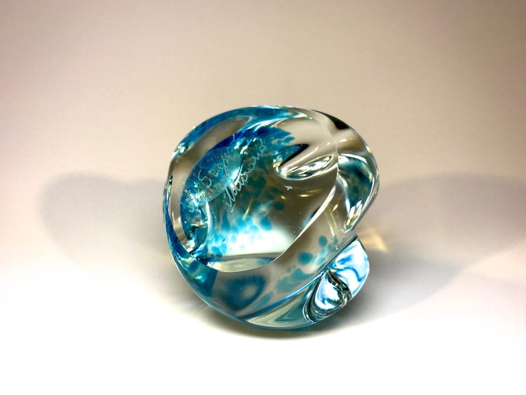 Glass Archimede Seguso Signed, Murano Italian Crystal Aquamarine Organic Paperweight For Sale