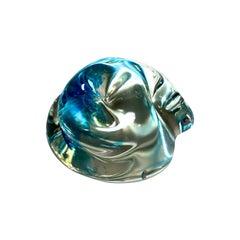 Archimede Seguso Signed, Murano Italian Crystal Aquamarine Organic Paperweight