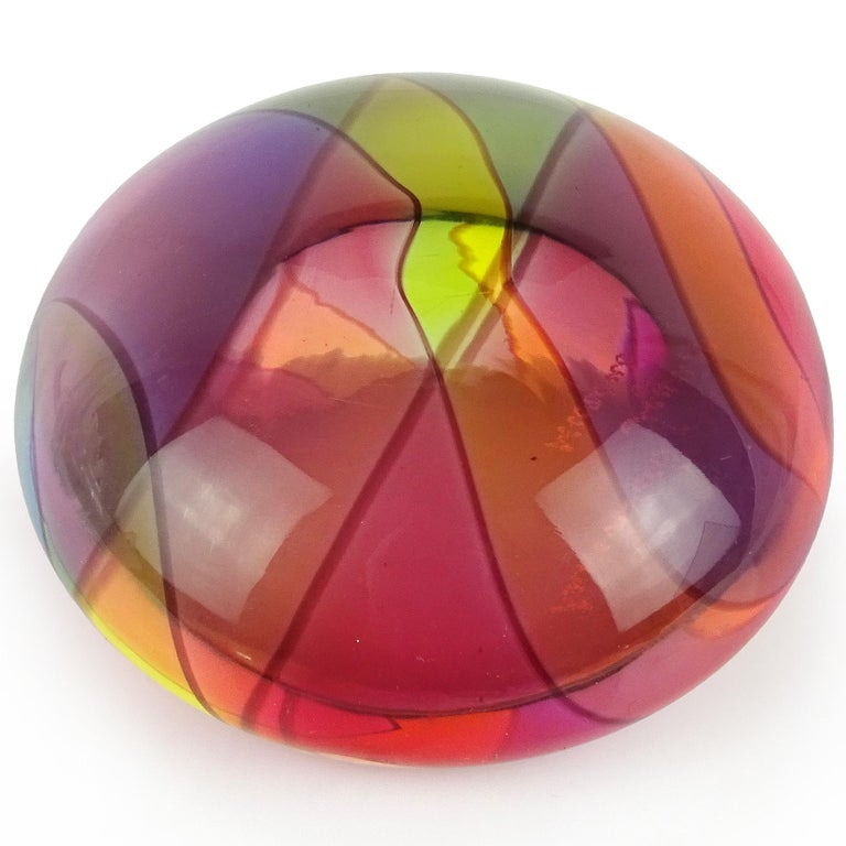 Beautiful Murano hand blown rainbow color stripes Italian art glass paperweight. Documented and signed Archimede Seguso, circa 1980s. Created in the