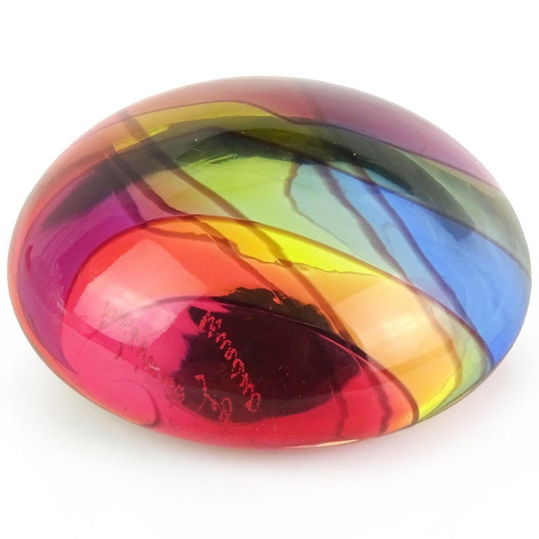 Modern Archimede Seguso Signed Murano Rainbow Swirl Italian Art Glass Paperweight For Sale