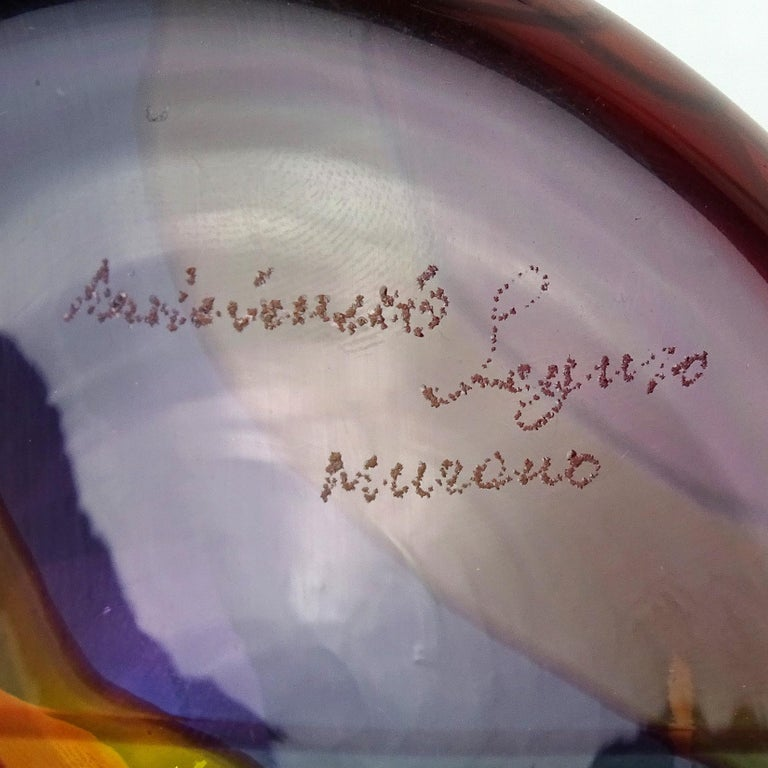 Hand-Crafted Archimede Seguso Signed Murano Rainbow Swirl Italian Art Glass Paperweight For Sale