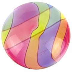 Archimede Seguso Signed Murano Rainbow Swirl Italian Art Glass Paperweight