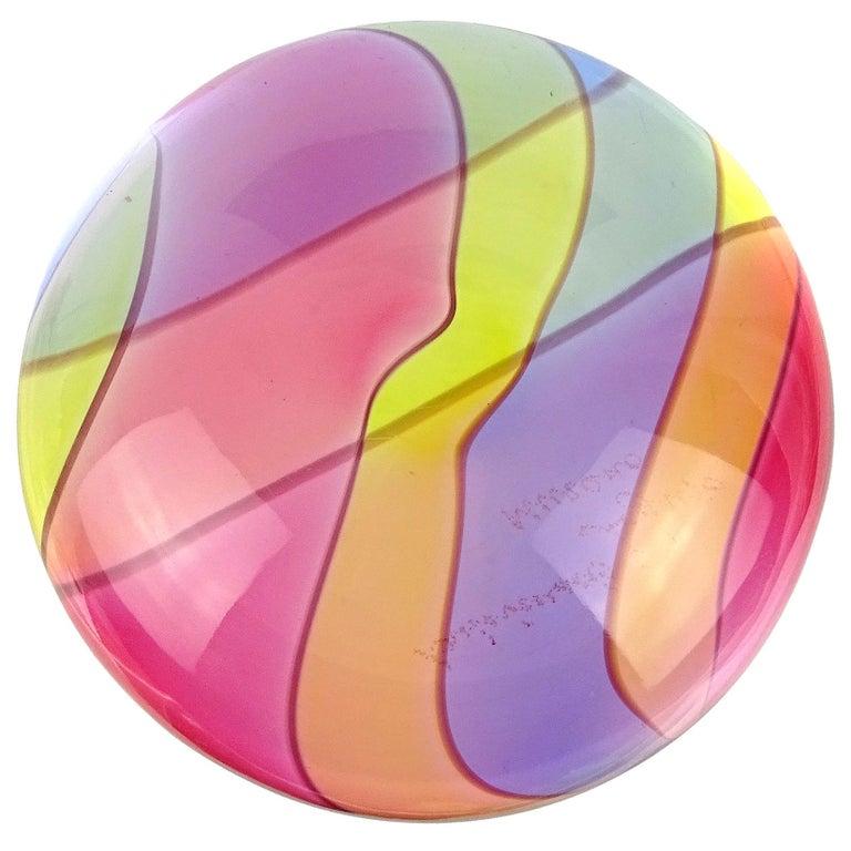 Archimede Seguso Signed Murano Rainbow Swirl Italian Art Glass Paperweight For Sale