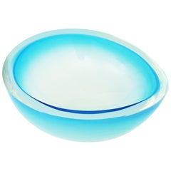 Archimede Seguso Sommerso Opal Blue Murano Glass Huge Ovoid Bowl Centerpiece