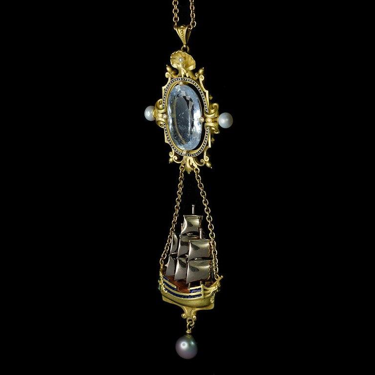 Archimedes' Mirror Necklace 18 Karat Gold Aquamarine Pearls, Diamonds and Enamel For Sale 7