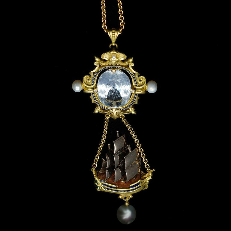 Archimedes' Mirror Necklace 18 Karat Gold Aquamarine Pearls, Diamonds and Enamel For Sale 8