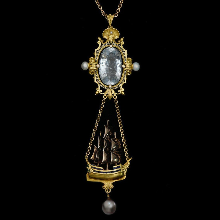 Archimedes' Mirror Necklace 18 Karat Gold Aquamarine Pearls, Diamonds and Enamel For Sale 4