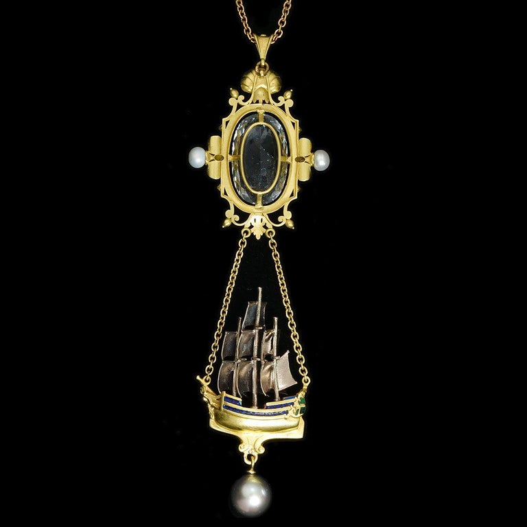 Archimedes' Mirror Necklace 18 Karat Gold Aquamarine Pearls, Diamonds and Enamel For Sale 12