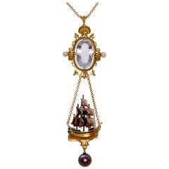 Archimedes' Mirror Necklace 18 Karat Gold Aquamarine Pearls, Diamonds and Enamel