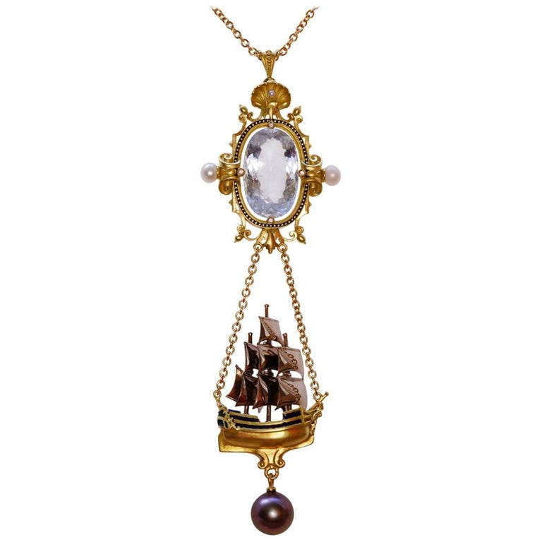 Archimedes' Mirror Necklace 18 Karat Gold Aquamarine Pearls, Diamonds and Enamel For Sale