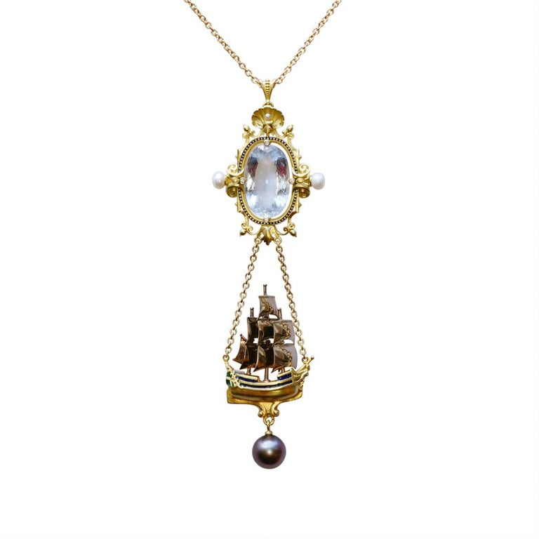 18kt Yellow, Rose, & White Gold Ship Pendant Necklace with Aquamarine, White Diamonds, Tahitian Pearl, White Freshwater Pearls and Vitreous Enamel on an 18kt Yellow Gold Oval Trace Chain (18