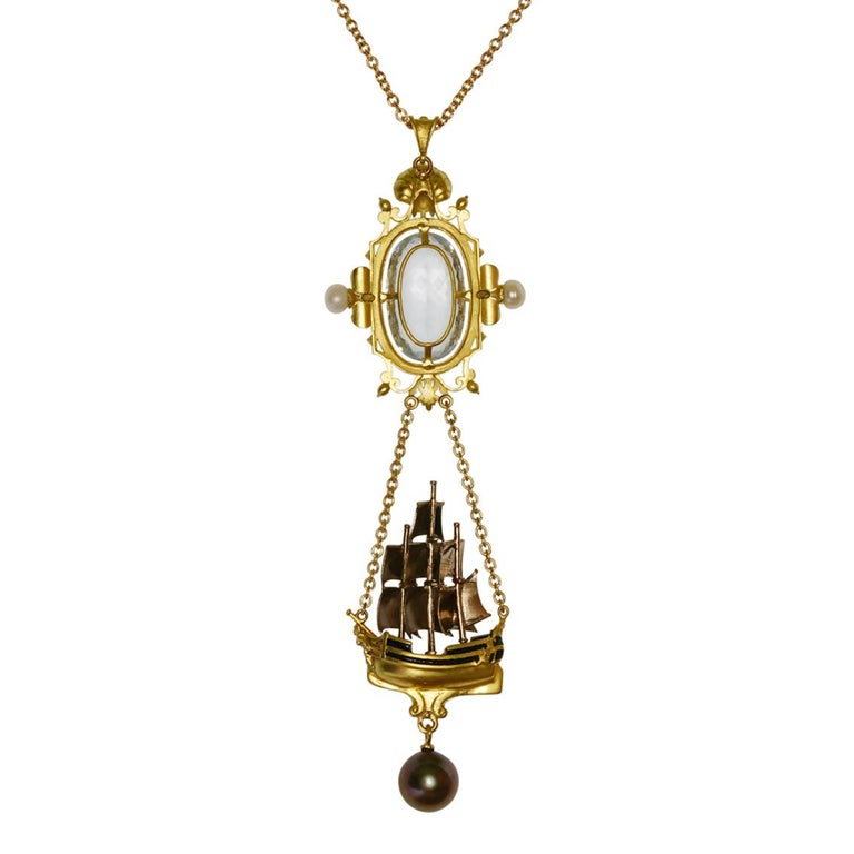 Archimedes' Mirror Necklace 18 Karat Gold Aquamarine Pearls, Diamonds and Enamel In New Condition For Sale In Melbourne, Vic