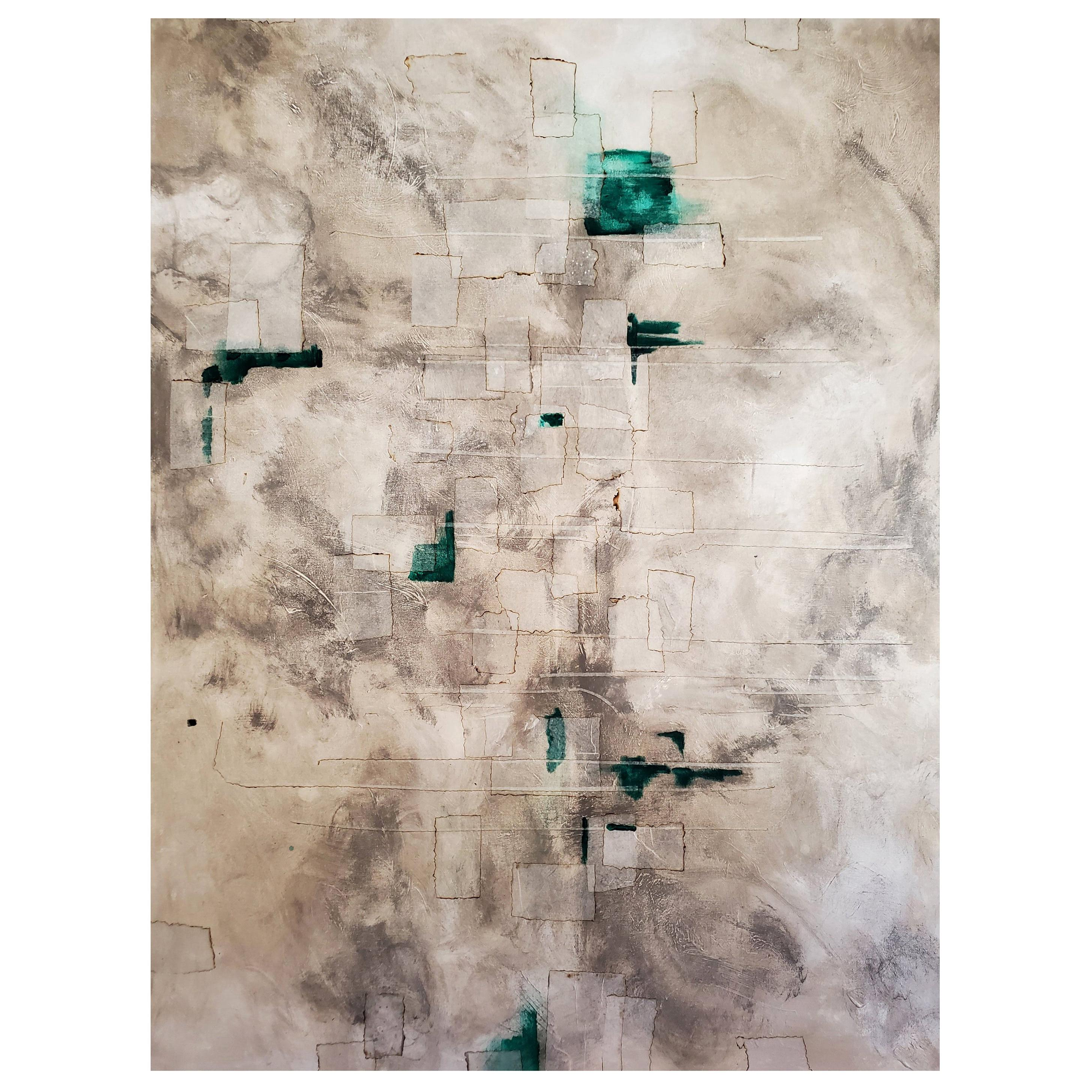 """""""Archipelago"""" 2018 Abstract Mixed-Media Painting on Canvas, Grey, Teal"""