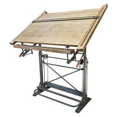 Architecte's Drafting Table in Iron and Wood, circa 1920