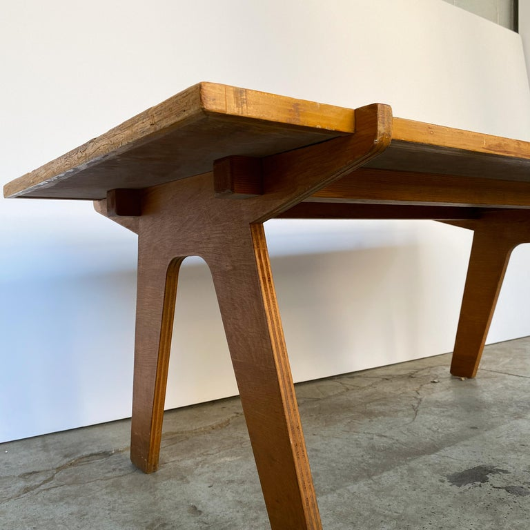 Architectonic Cut Plywood Midcentury Cocktail Table For Sale 2