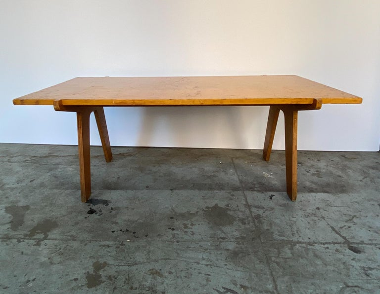 American Architectonic Cut Plywood Midcentury Cocktail Table For Sale