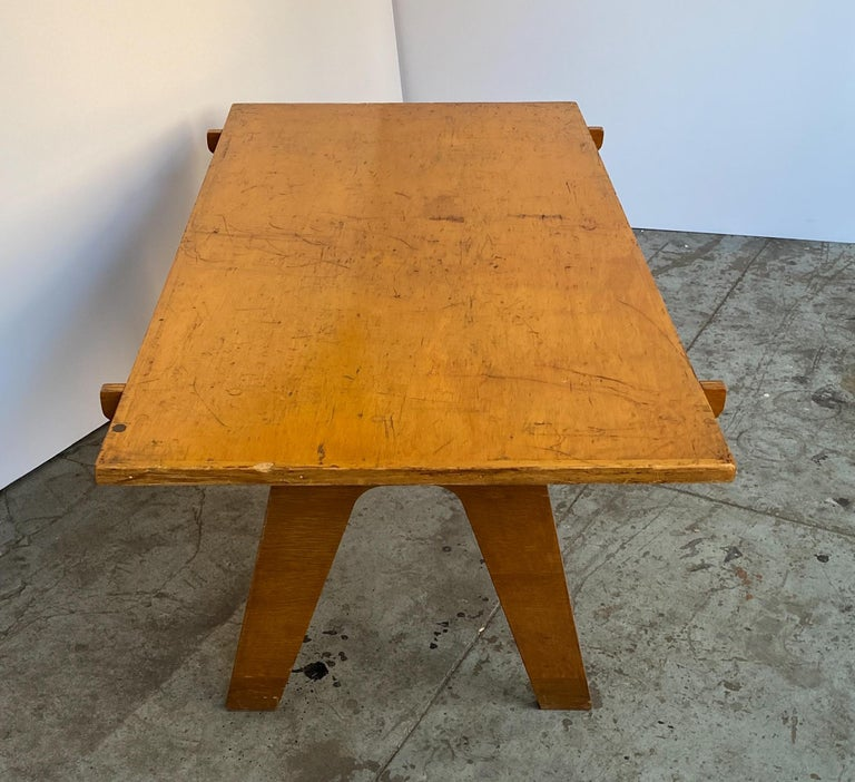 Architectonic Cut Plywood Midcentury Cocktail Table In Fair Condition For Sale In New York, NY
