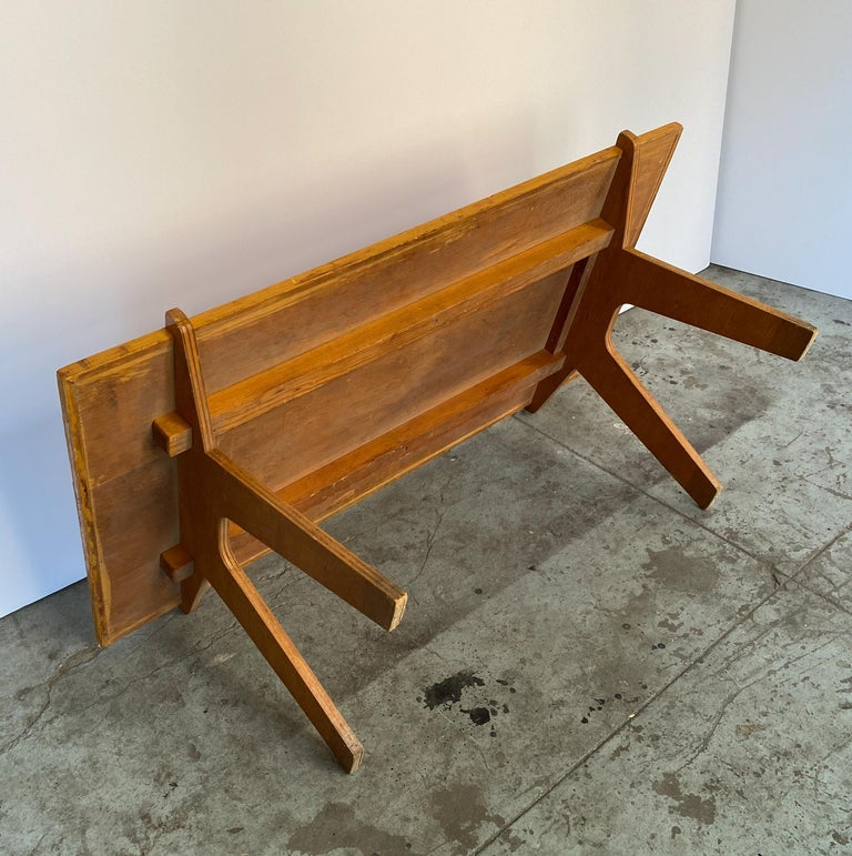 Wood Architectonic Cut Plywood Midcentury Cocktail Table For Sale