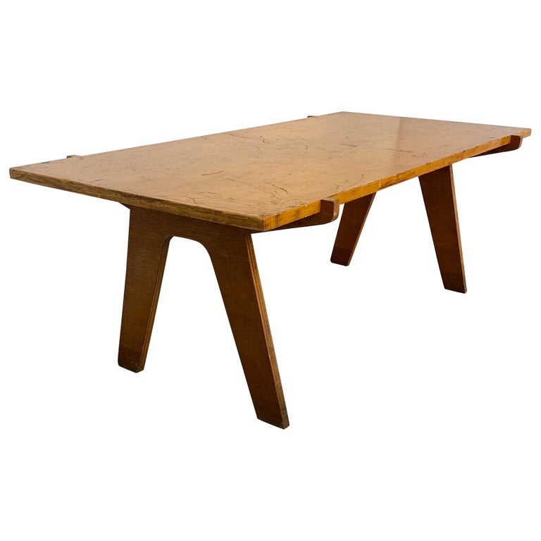 Architectonic Cut Plywood Midcentury Cocktail Table For Sale