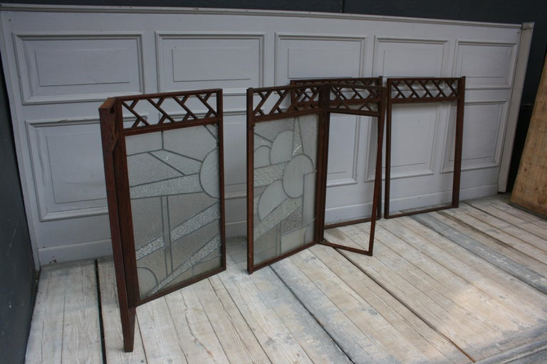 Architectural Iron Art Deco Windows, Set of 4 For Sale 8