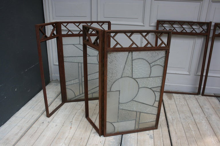 Architectural Iron Art Deco Windows, Set of 4 For Sale 12
