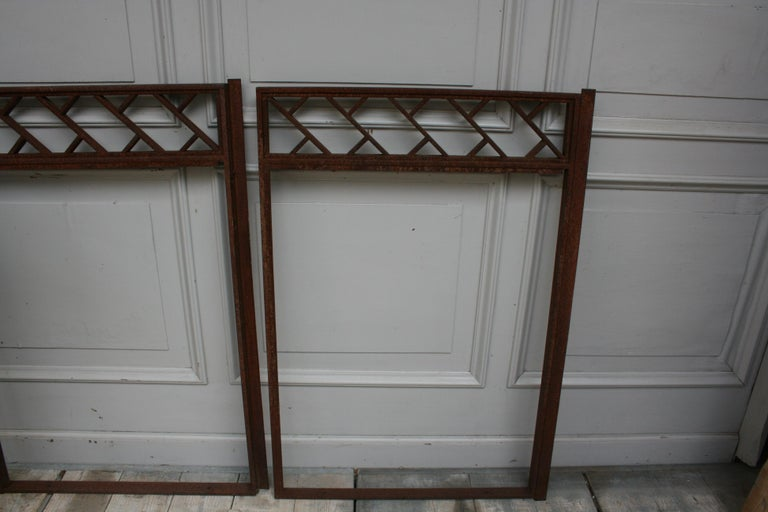 Architectural Iron Art Deco Windows, Set of 4 For Sale 4