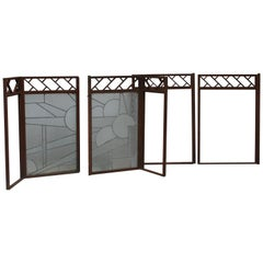 Architectural Iron Art Deco Windows, Set of 4