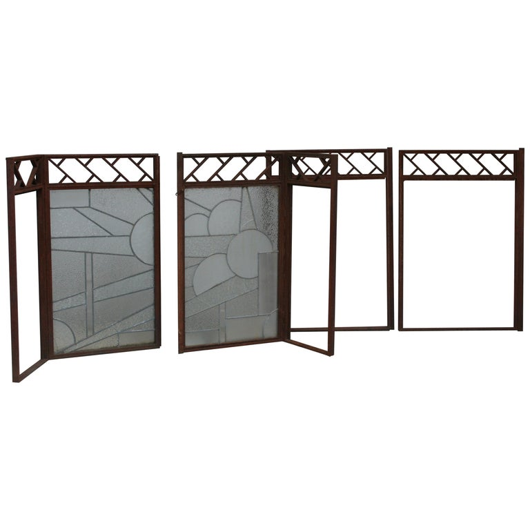 Architectural Iron Art Deco Windows, Set of 4 For Sale