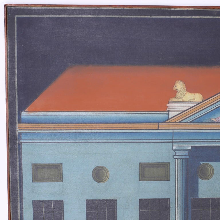 Here we have a serious painting that flaunts classical architecture in an efficient disciplined technique, but the whimsical nature of the figures atop the building add a humorous element and an emotional complexity. Presented in the original wood