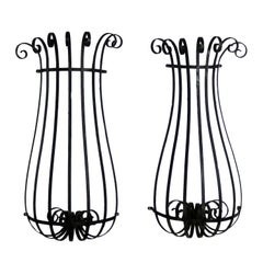 Architectural Antique Window Guards or Wall Urn Planters Hand-Wrought Iron
